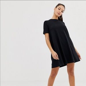 Black ASOS t shirt dress with ruffle accent
